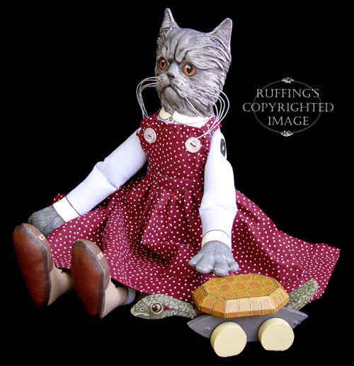 Crabby Alice and Ruthie, Original One-of-a-kind Blue Persian Folk Art Cat Doll and Turtle by Max Bailey
