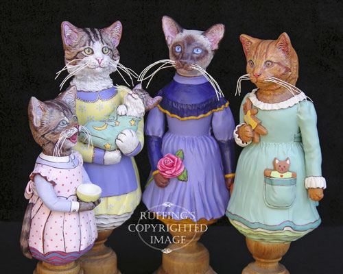 Crybaby, Belinda and BoBo, Isadora, and Ginnie, Original One-of-a-kind Folk Art Ct Doll Figurines by Max Bailey