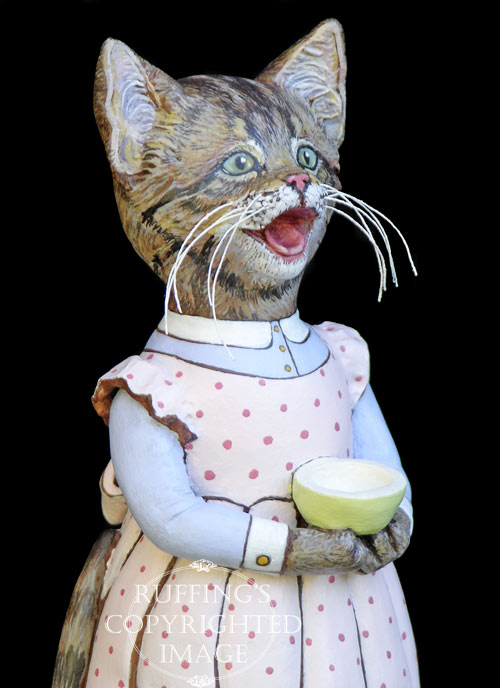Crybaby, Original One-of-a-kind Tabby Kitten Art Doll Figurine by Max Bailey