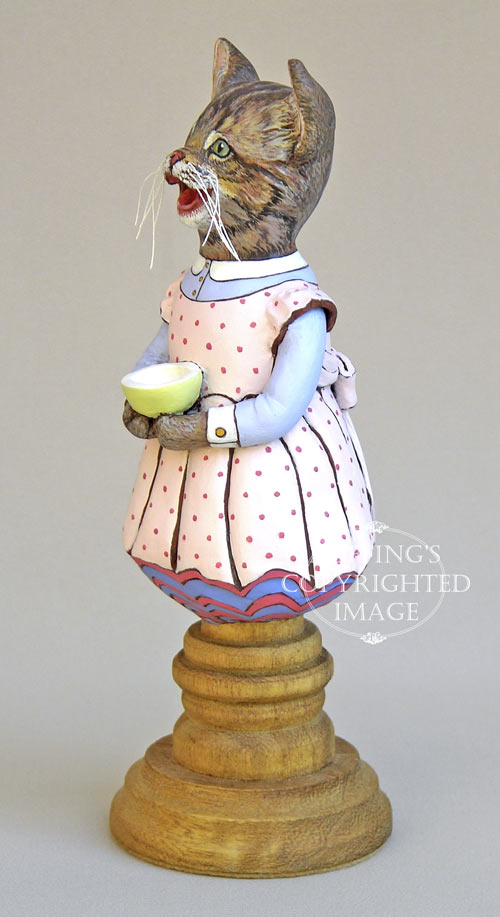Crybaby, Original One-of-a-kind Tabby Kitten Folk Art Doll Figurine by Max Bailey