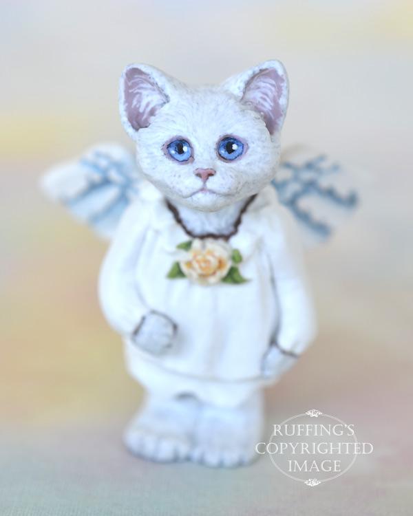 Crystal, miniature white cat angel art doll, handmade original, one-of-a-kind kitten by artist Max Bailey