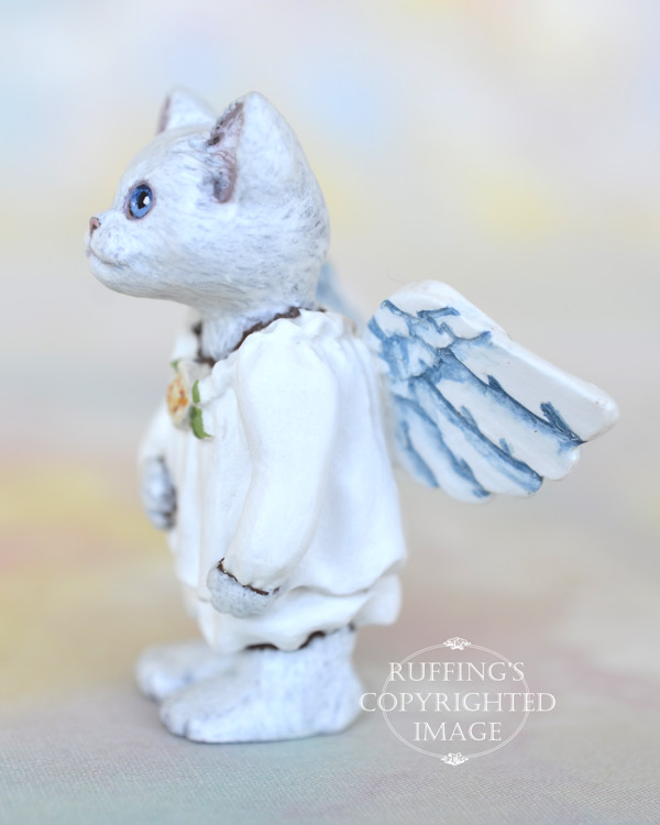Crystal, miniature white cat angel art doll, handmade original, one-of-a-kind kitten by artist Max Bailey