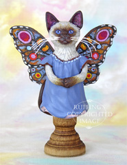 Crystal the Siamese Pixie Kitten, Original One-of-a-kind Fairy Cat Folk Art Doll Figurine by Max Bailey