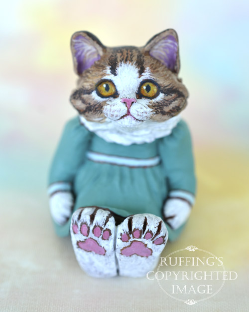 Dagmar, miniature Norwegian Forest cat art doll, handmade original, one-of-a-kind kitten by artist Max Bailey