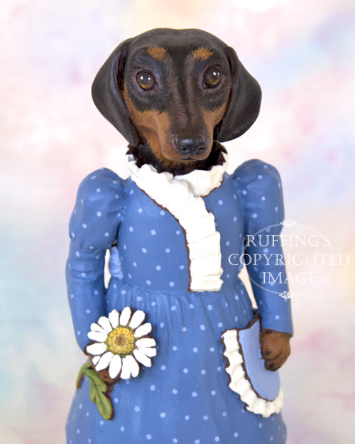 Daisy Dachsund, Original One-of-a-kind Folk Art Dog Doll Figurine by Max Bailey