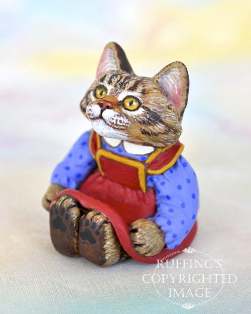 Dakota, miniature tabby Maine Coon cat art doll, handmade original, one-of-a-kind kitten by artist Max Bailey