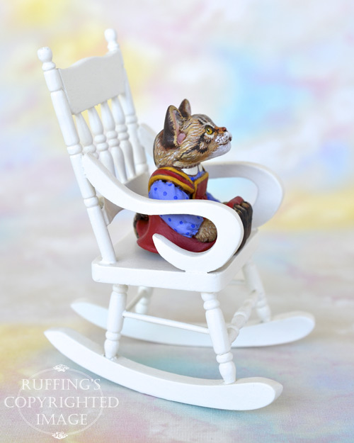 Dakota, miniature tabby Maine Coon cat art doll, handmade original, one-of-a-kind kitten by artist Max Bailey