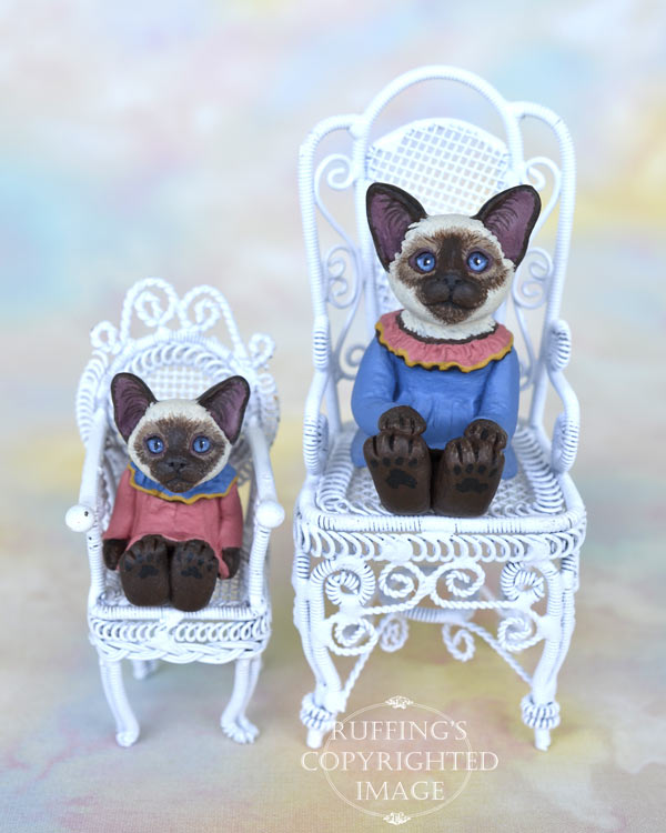 Dana and Dixie miniature Siamese cat art dolls, handmade original, one-of-a-kind kittens by artist Max Bailey