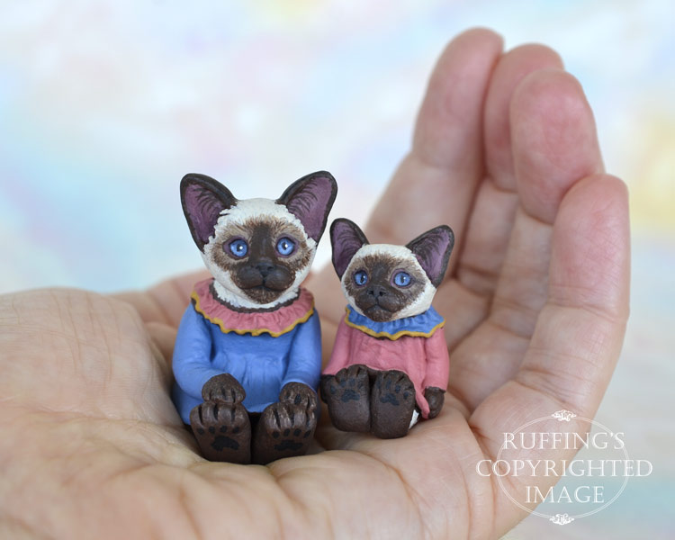 Dana and Dixie, miniature Siamese cat art dolls, handmade original, one-of-a-kind kittens by artist Max Bailey