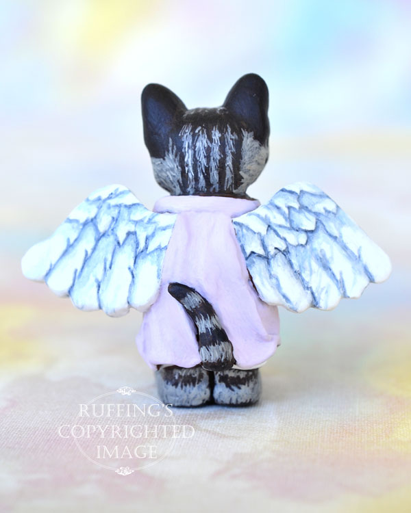 Daphne, miniature American Shorthair angel tabby cat art doll, handmade original, one-of-a-kind kitten by artist Max Bailey