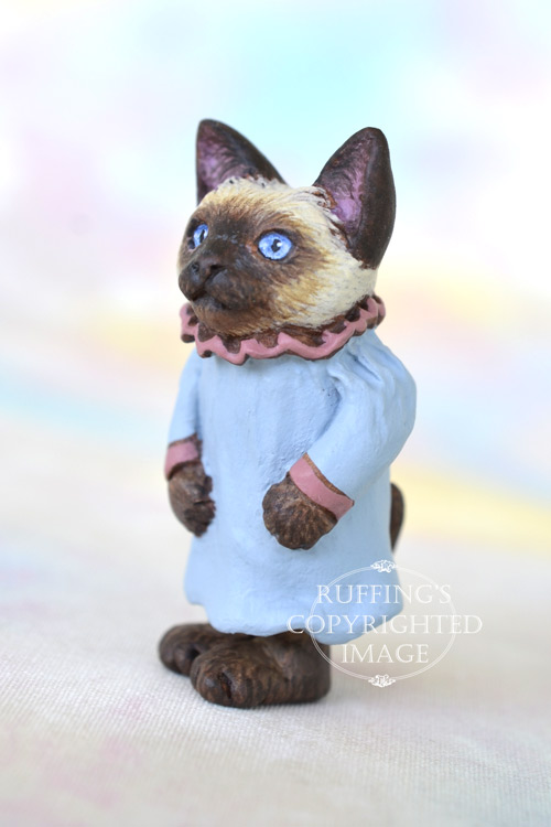Daphne, Original One-of-a-kind Dollhouse-sized Siamese Kitten Art Doll by Max Bailey