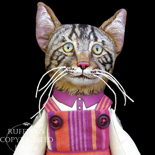 Daphne, Original One-of-a-kind Tabby Cat Folk Art Doll by Max Bailey