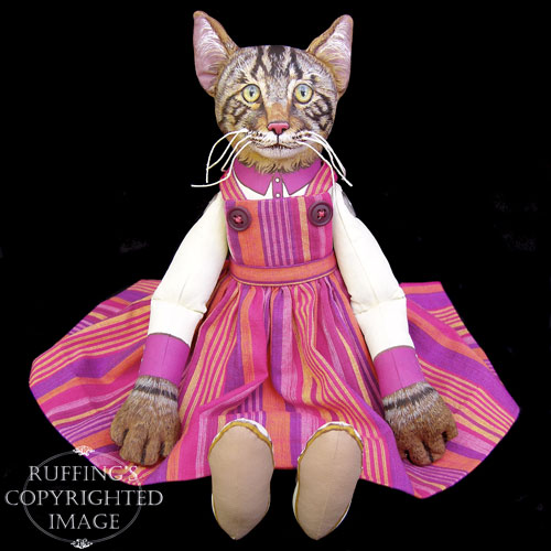 Daphne, Original One-of-a-kind Tabby Cat Folk Art Doll by Max Bailey