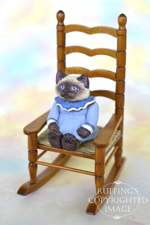 Darla, miniature Ragdoll cat art doll, handmade original, one-of-a-kind kitten by artist Max Bailey