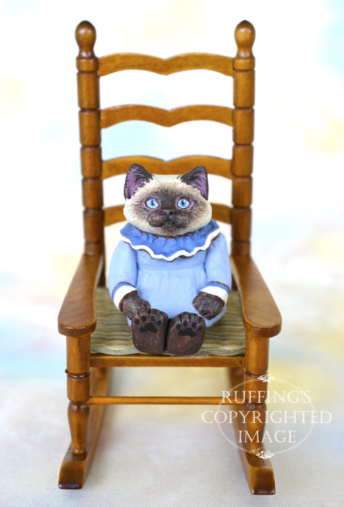 Darla, miniature Ragdoll cat art doll, handmade original, one-of-a-kind kitten by artist Max Bailey