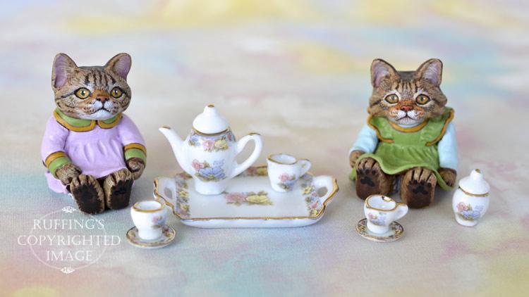 Darlene, miniature tabby cat art doll, handmade original, one-of-a-kind kitten by artist Max Bailey