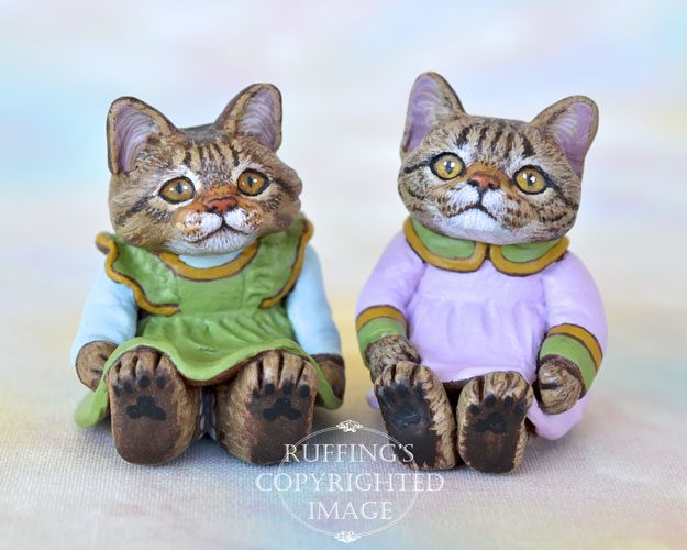 Gina and Darlene, miniature tabby cat art dolls, handmade original, one-of-a-kind kittens by artist Max Bailey