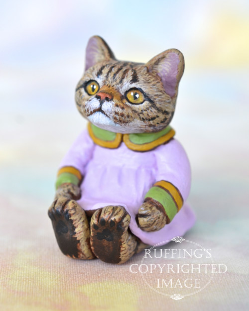 Darlene, miniature tabby cat art doll, handmade original, one-of-a-kind kitten by artist Max Bailey