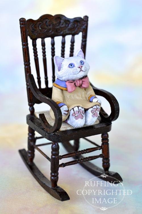 Deanie, miniature white cat art doll, handmade original, one-of-a-kind kitten by artist Max Bailey