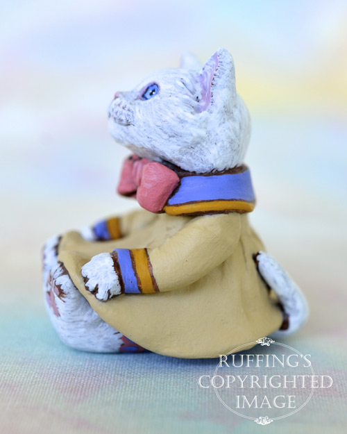 Deanie, miniature white cat art doll, handmade original, one-of-a-kind kitten by artist Max Bailey