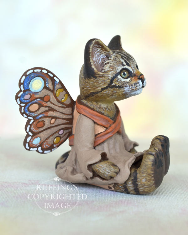 Dharva, miniature tabby fairy cat art doll, handmade original, one-of-a-kind kitten by artist Max Bailey