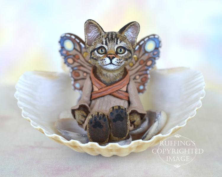 Dharva, miniature tabby fairy cat art doll, handmade original, one-of-a-kind kitten by artist Max Bailey