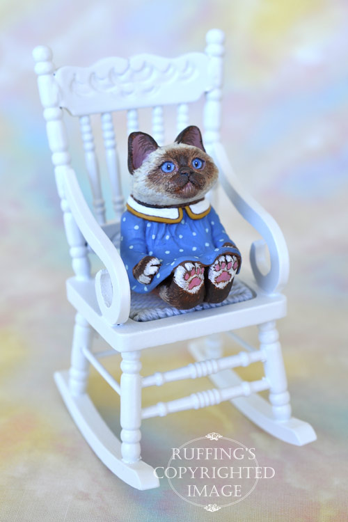 Dina, miniature Birman cat art doll, handmade original, one-of-a-kind kitten by artist Max Bailey