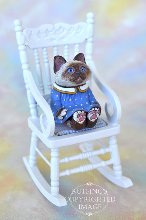 Dina, miniature Birman cat art doll, handmade original, one-of-a-kind kitten by artist Max Bailey