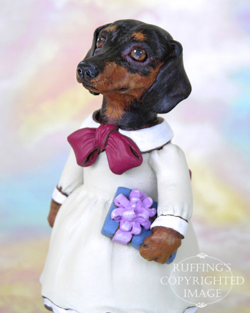 Dinah the Dachshund, Original One-of-a-kind Folk Art Dog Doll Figurine by Max Bailey