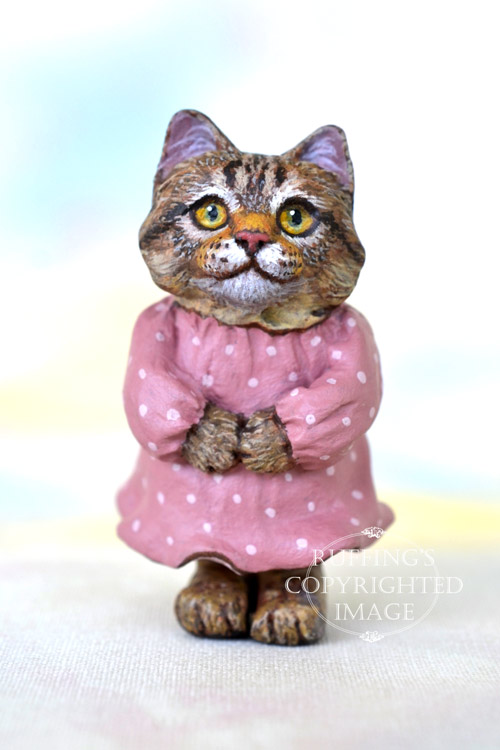 Dixie, Original One-of-a-kind Dollhouse-sized Tabby Kitten Art Doll by Max Bailey