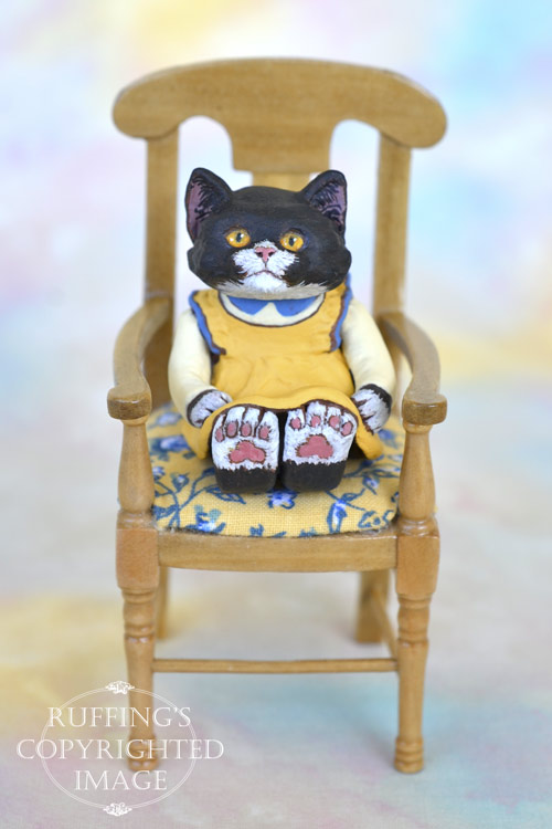 Domino, miniature black-and-white tuxedo cat art doll, handmade original, one-of-a-kind kitten by artist Max Bailey