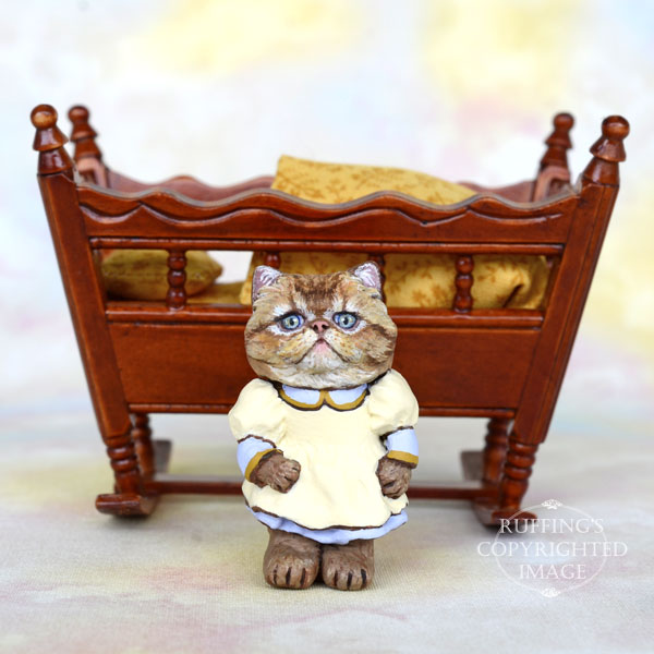 Dora, Original One-of-a-kind Dollhouse-sized Persian Kitten Art Doll by Max Bailey