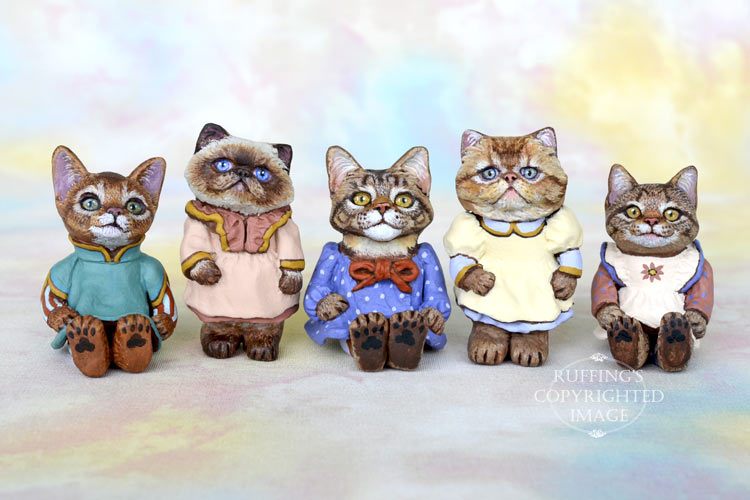 Original, one-of-a-kind, dollhouse-sized kitten art dolls by Max Bailey