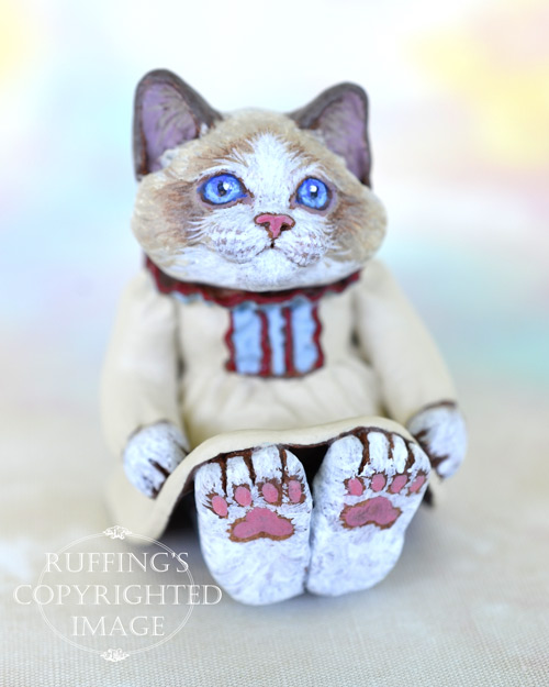 Doreen, miniature Bi-color Ragdoll cat art doll, handmade original, one-of-a-kind kitten by artist Max Bailey