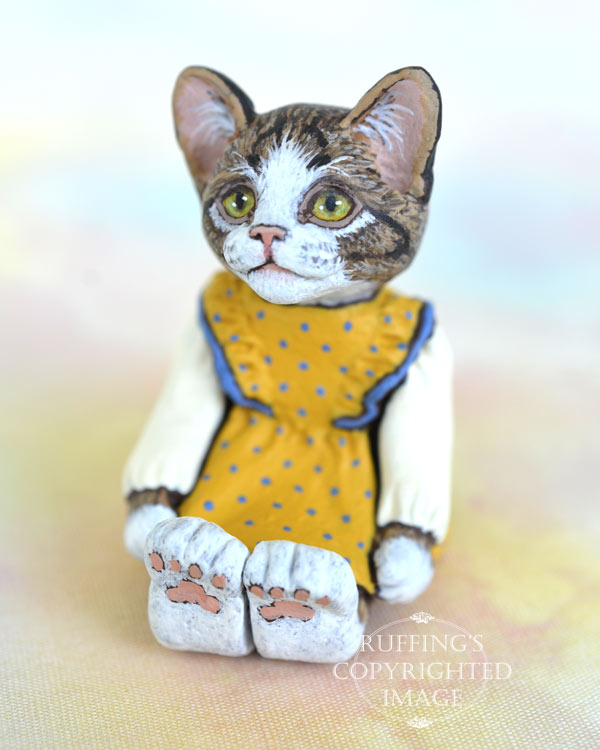 Doreen, miniature tabby-and-white cat art doll, handmade original, one-of-a-kind kitten by artist Max Bailey