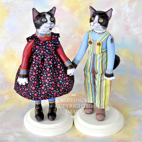 Echo and Tommy, Original, One-of-a-kind, black-and-white tuxedo cat art dolls by Max Bailey