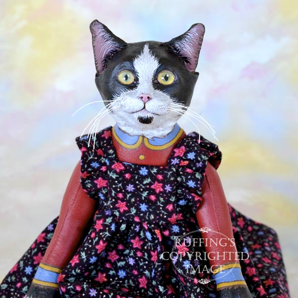 Echo, Original One-of-a-kind Black-and-white Tuxedo Cat Art Doll by Max Bailey