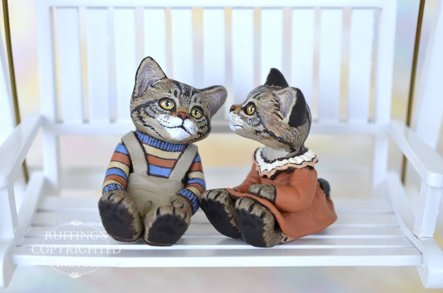 Eddie and Ethel, miniature Maine Coon cat art dolls, handmade original, one-of-a-kind kittens by artist Max Bailey