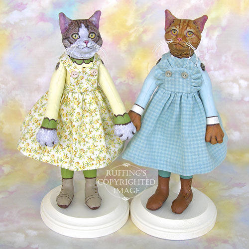 Edith and Eloise, Original One-of-a-kind Cat Art Dolls by Max Bailey