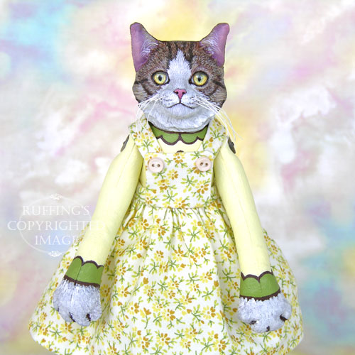 Edith, Original One-of-a-kind Tabby-and-white Cat Art Doll by Max Bailey