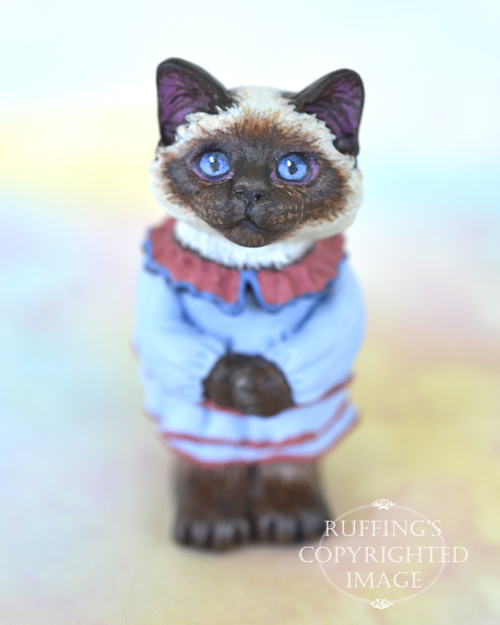 Eileen, miniature Ragdoll cat art doll, handmade original, one-of-a-kind kitten by artist Max Bailey