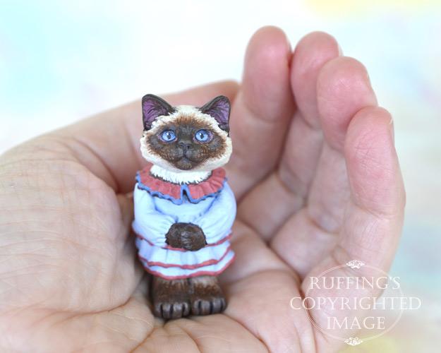 Aunt Helen, miniature Ragdoll cat art doll, handmade original, one-of-a-kind cat by artist Max Bailey