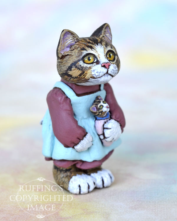Ellie, miniature tabby cat art doll, handmade original, one-of-a-kind kitten by artist Max Bailey
