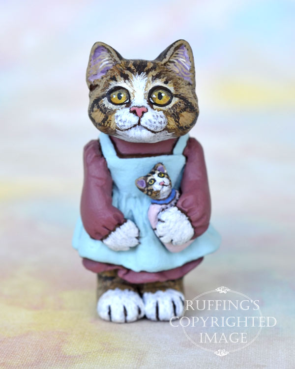 Ellie, miniature tabby cat art doll, handmade original, one-of-a-kind kitten by artist Max Bailey