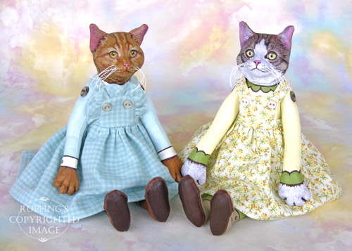 Eloise and Edith, Original One-of-a-kind Cat Art Doll by Max Bailey