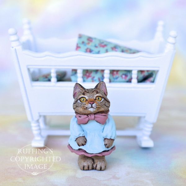 Emily, Original One-of-a-kind Dollhouse-sized Tabby Kitten by Max Bailey