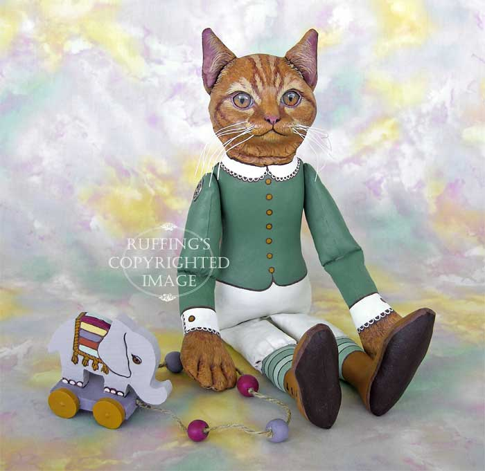 Emily and Edwin, Original One-of-a-kind Ginger Tabby Cat and Elephant Folk Art Dolls by Max Bailey and Elizabeth Ruffing