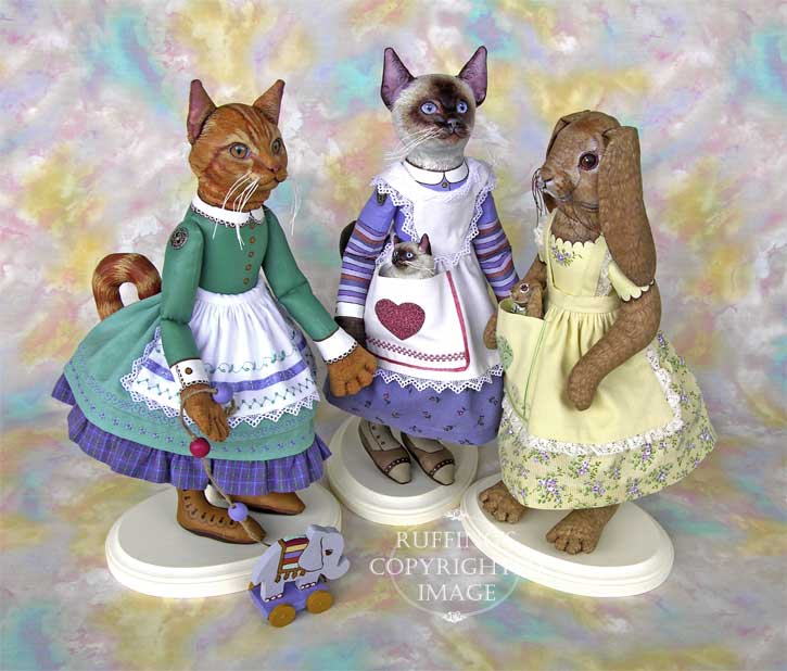Emily, Loretta, and Beatrice Original Folk Art Cat and Rabbit Dolls by Max Bailey and Elizabeth Ruffing