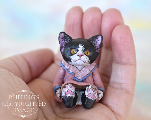 Emma, miniature black-and-white tuxedo cat art doll, handmade original, one-of-a-kind kitten by artist Max Bailey
