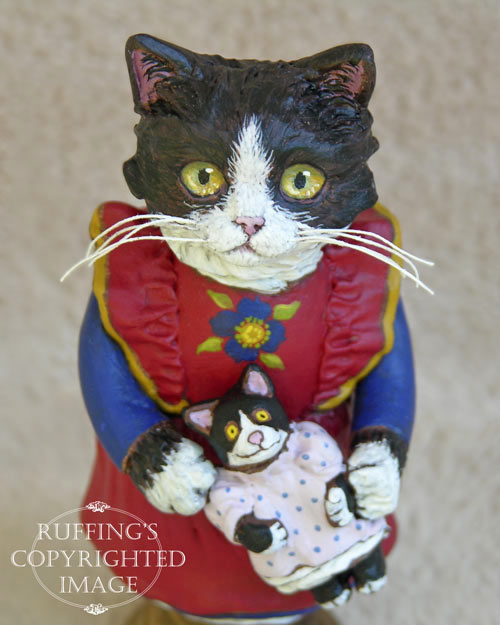 Emmy the Tuxedo Kitten, Original One-of-a-kind Folk Art Cat Doll Figurine by Max Bailey